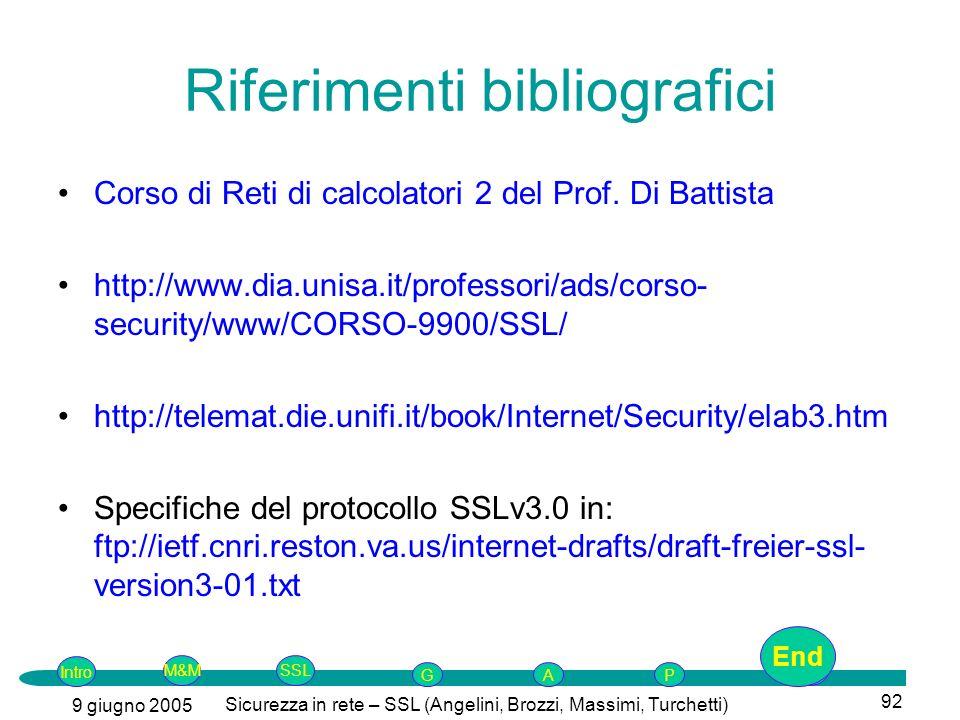 Intro G M&MSSLEnd AP 9 giugno 2005 Sicurezza in rete – SSL (Angelini, Brozzi, Massimi, Turchetti) 92 Riferimenti bibliografici Corso di Reti di calcolatori 2 del Prof.