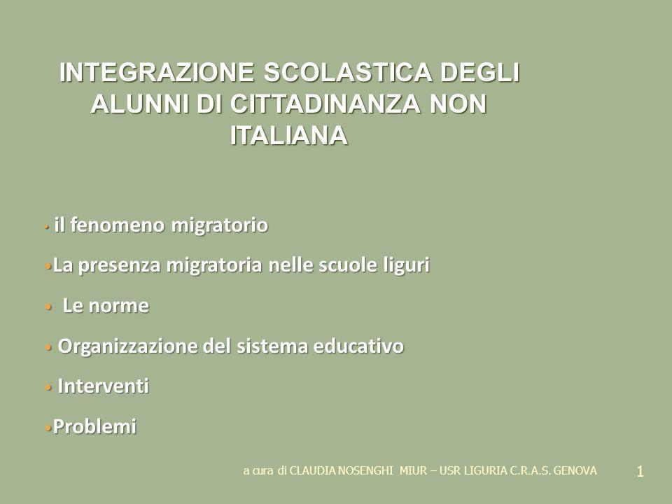 a cura di CLAUDIA NOSENGHI MIUR – USR LIGURIA C.R.A.S. GENOVA 1 INTEGRAZIONE SCOLASTICA DEGLI ALUNNI DI CITTADINANZA NON ITALIANA il fenomeno migrator