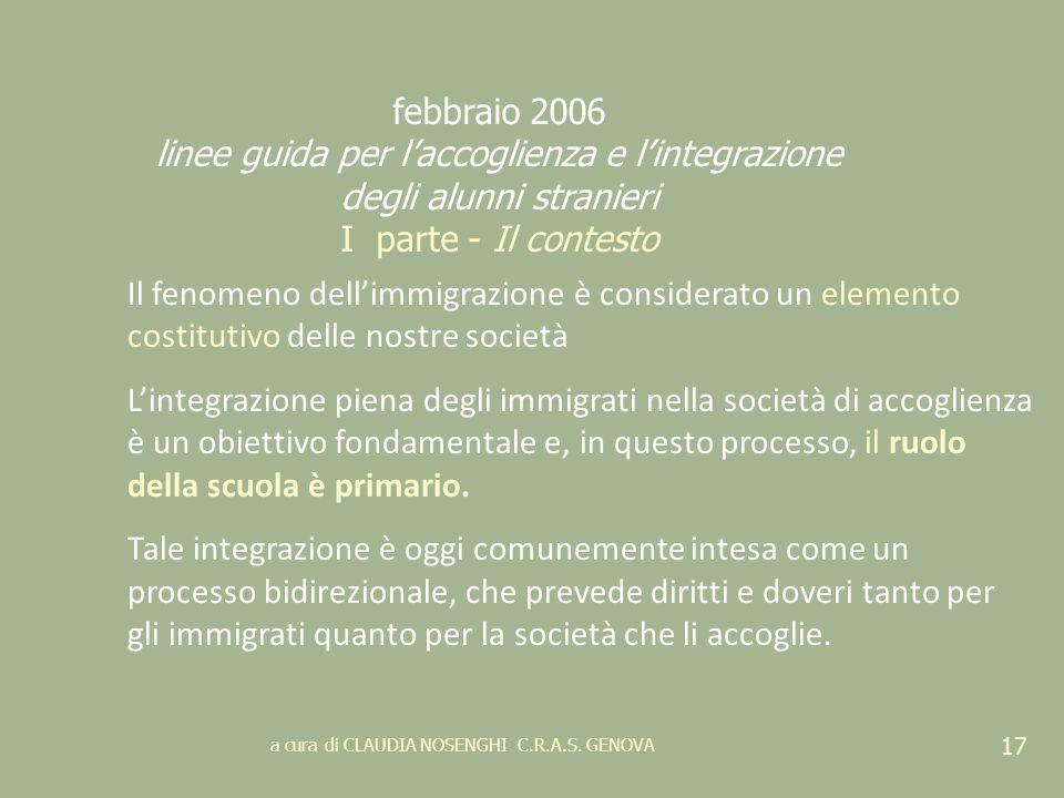 a cura di CLAUDIA NOSENGHI C.R.A.S. GENOVA 17 febbraio 2006 linee guida per laccoglienza e lintegrazione degli alunni stranieri I parte - Il contesto