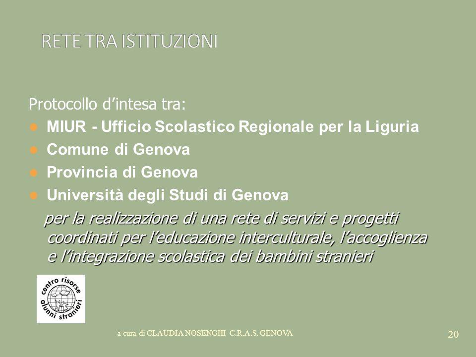 a cura di CLAUDIA NOSENGHI C.R.A.S. GENOVA 20 Protocollo dintesa tra: MIUR - Ufficio Scolastico Regionale per la Liguria Comune di Genova Provincia di