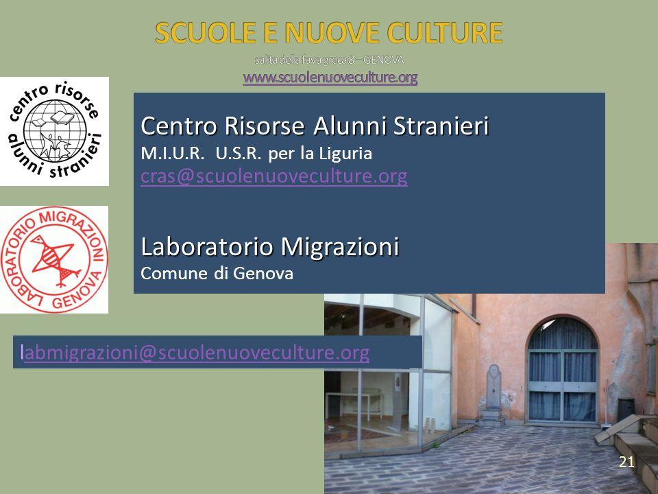 Centro Risorse Alunni Stranieri M.I.U.R. U.S.R. per la Liguria cras@scuolenuoveculture.org Laboratorio Migrazioni Comune di Genova 21 labmigrazioni@sc