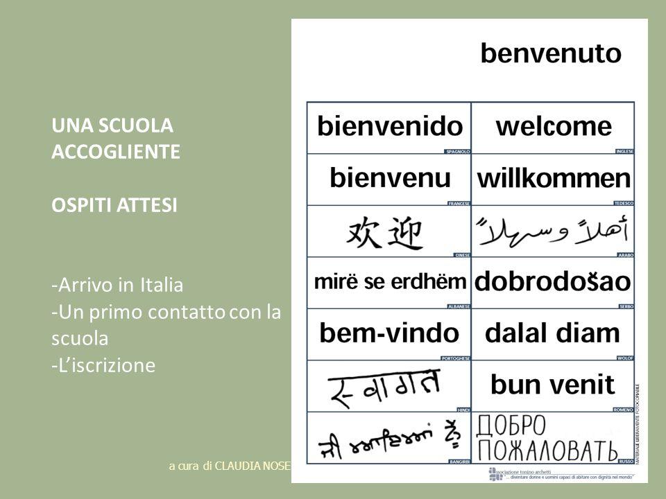 a cura di CLAUDIA NOSENGHI C.R.A.S. GENOVA 24 UNA SCUOLA ACCOGLIENTE OSPITI ATTESI -Arrivo in Italia -Un primo contatto con la scuola -Liscrizione