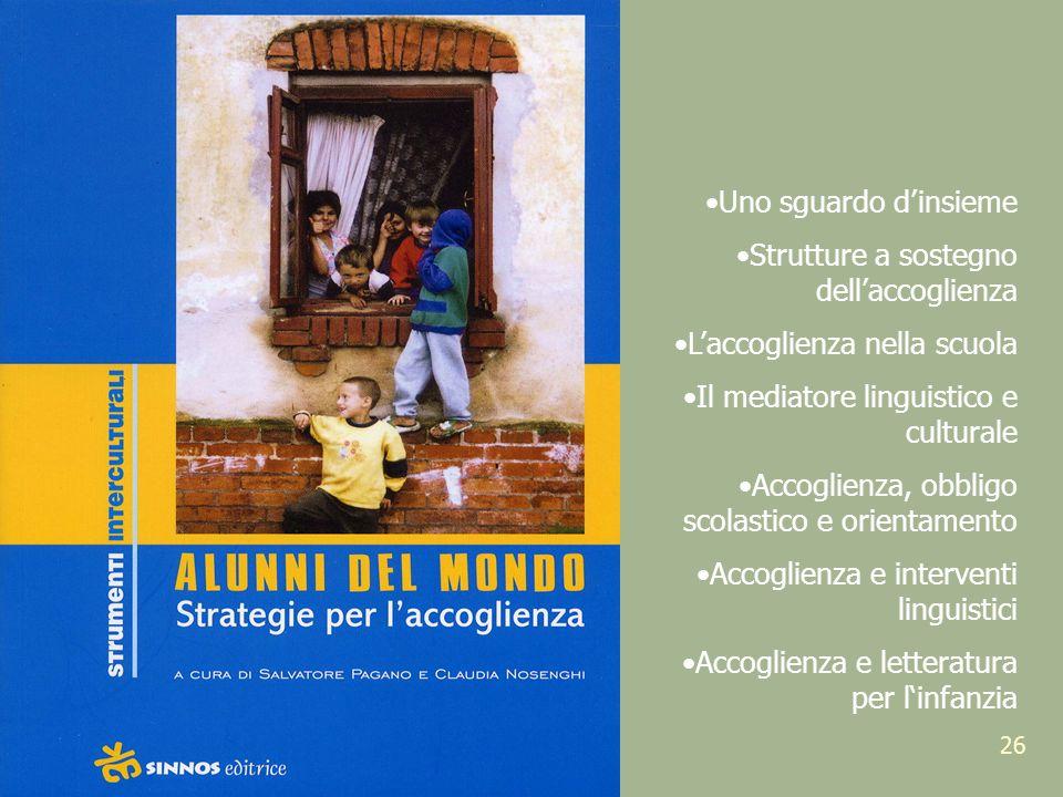 26 Uno sguardo dinsieme Strutture a sostegno dellaccoglienza Laccoglienza nella scuola Il mediatore linguistico e culturale Accoglienza, obbligo scola