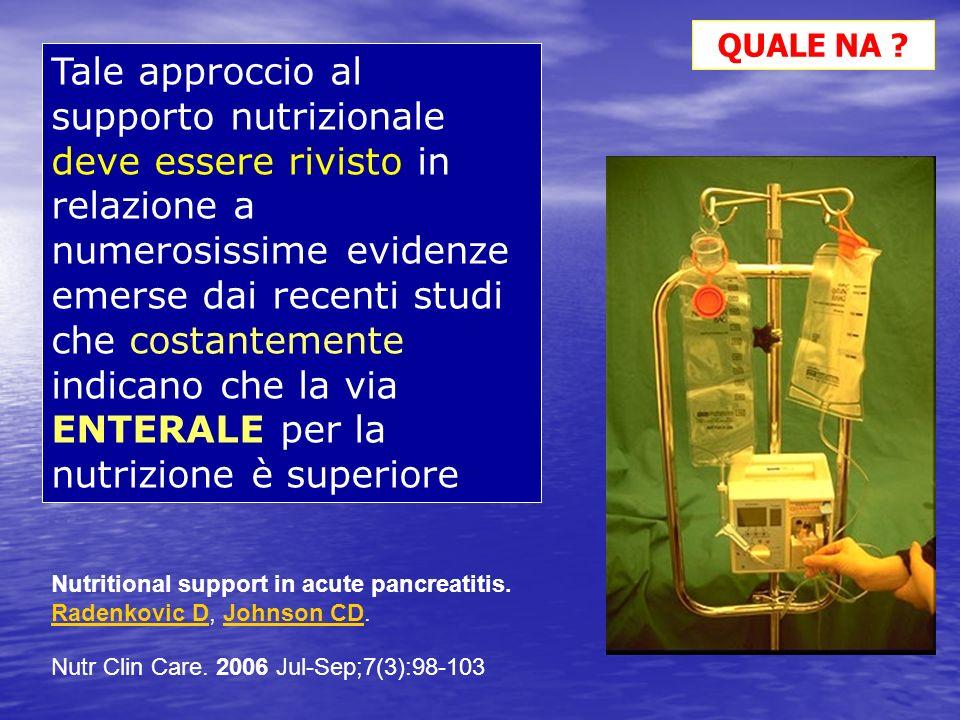 Tale approccio al supporto nutrizionale deve essere rivisto in relazione a numerosissime evidenze emerse dai recenti studi che costantemente indicano
