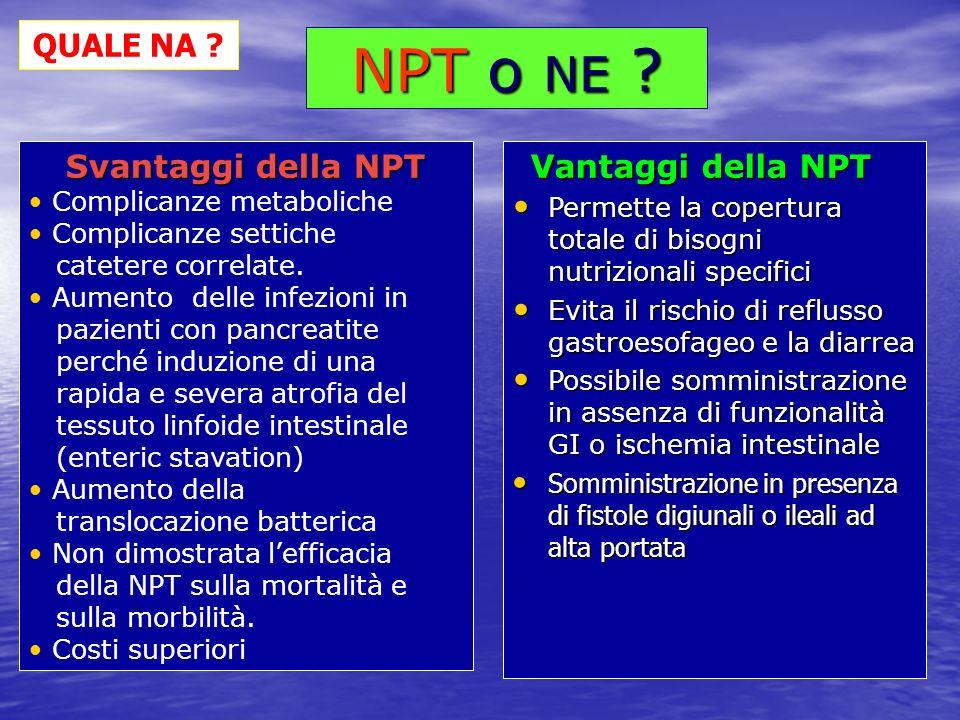 Vantaggi della NPT Vantaggi della NPT Permette la copertura totale di bisogni nutrizionali specifici Permette la copertura totale di bisogni nutrizion