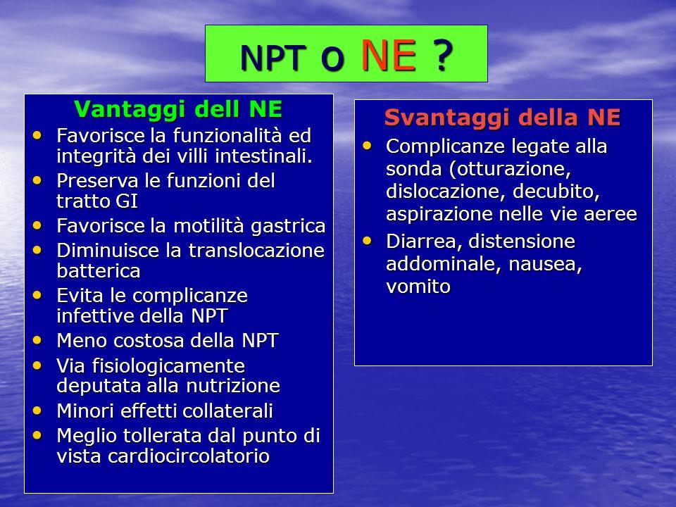 NPT o NE ? Vantaggi dell NE Favorisce la funzionalità ed integrità dei villi intestinali. Favorisce la funzionalità ed integrità dei villi intestinali
