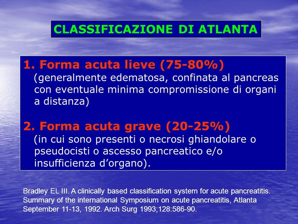 CLASSIFICAZIONE DI ATLANTA 1. Forma acuta lieve (75-80%) (generalmente edematosa, confinata al pancreas con eventuale minima compromissione di organi