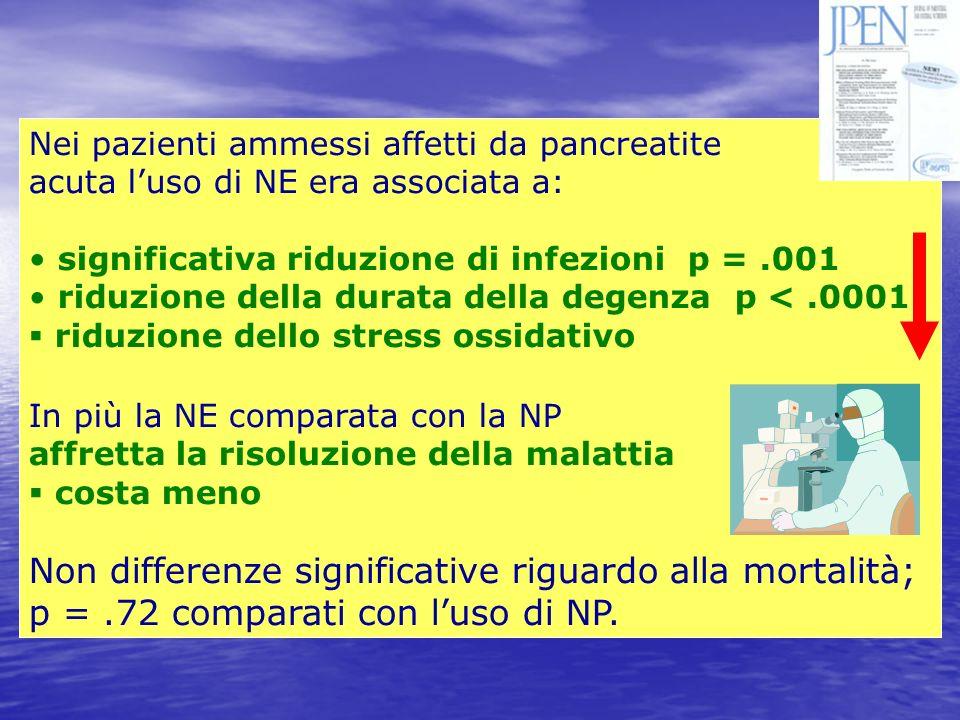 Nei pazienti ammessi affetti da pancreatite acuta luso di NE era associata a: significativa riduzione di infezioni p =.001 riduzione della durata dell