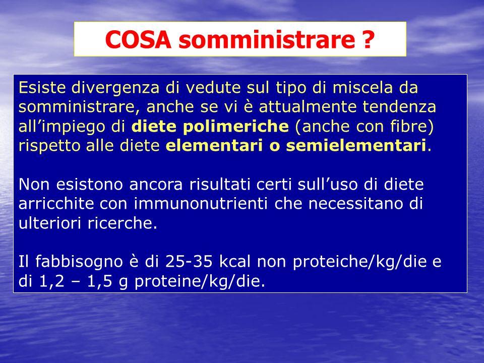 Esiste divergenza di vedute sul tipo di miscela da somministrare, anche se vi è attualmente tendenza allimpiego di diete polimeriche (anche con fibre)