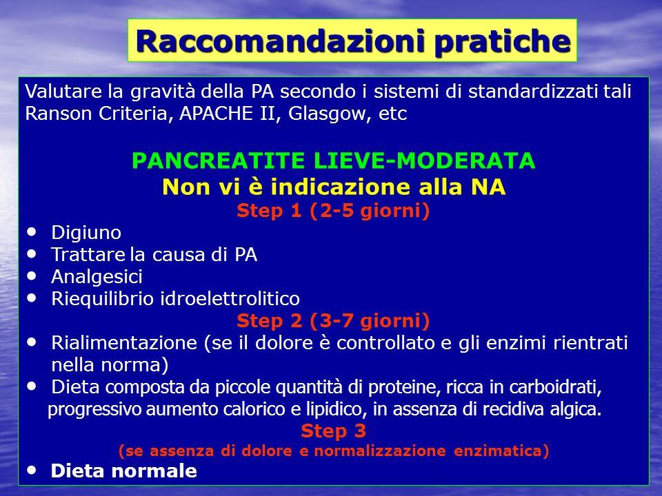 Valutare la gravità della PA secondo i sistemi di standardizzati tali Ranson Criteria, APACHE II, Glasgow, etc PANCREATITE LIEVE-MODERATA Non vi è ind