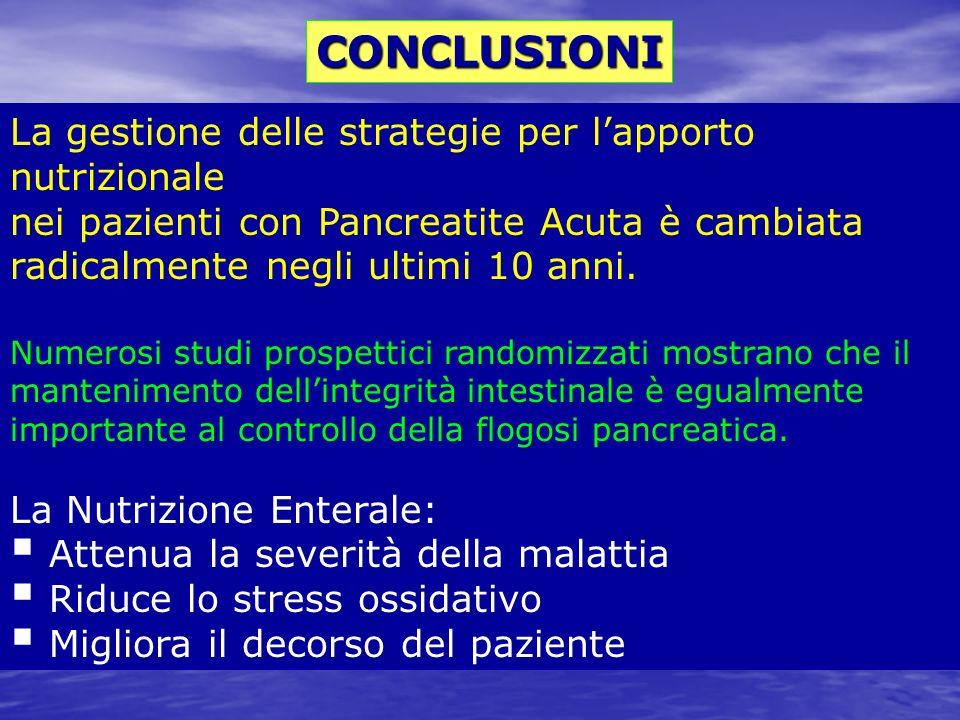 La gestione delle strategie per lapporto nutrizionale nei pazienti con Pancreatite Acuta è cambiata radicalmente negli ultimi 10 anni. Numerosi studi