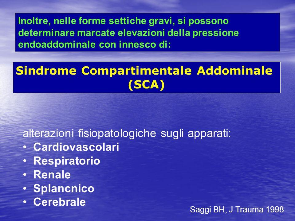 Inoltre, nelle forme settiche gravi, si possono determinare marcate elevazioni della pressione endoaddominale con innesco di: Sindrome Compartimentale