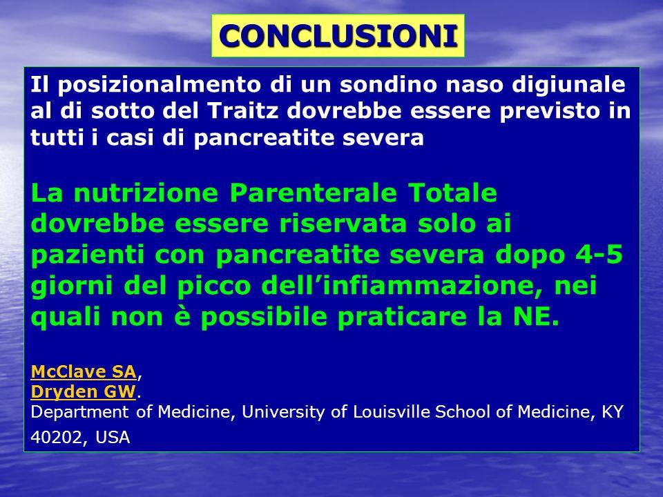 Il posizionalmento di un sondino naso digiunale al di sotto del Traitz dovrebbe essere previsto in tutti i casi di pancreatite severa La nutrizione Pa