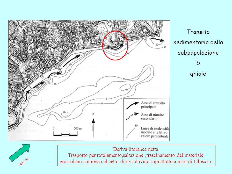 Transito sedimentario della subpopolazione 5 ghiaie libeccio Deriva litoranea netta Trasporto per rotolamento,saltazione,trascinamento del materiale grossolano connesso al getto di riva dovuto soprattutto a mari di Libeccio