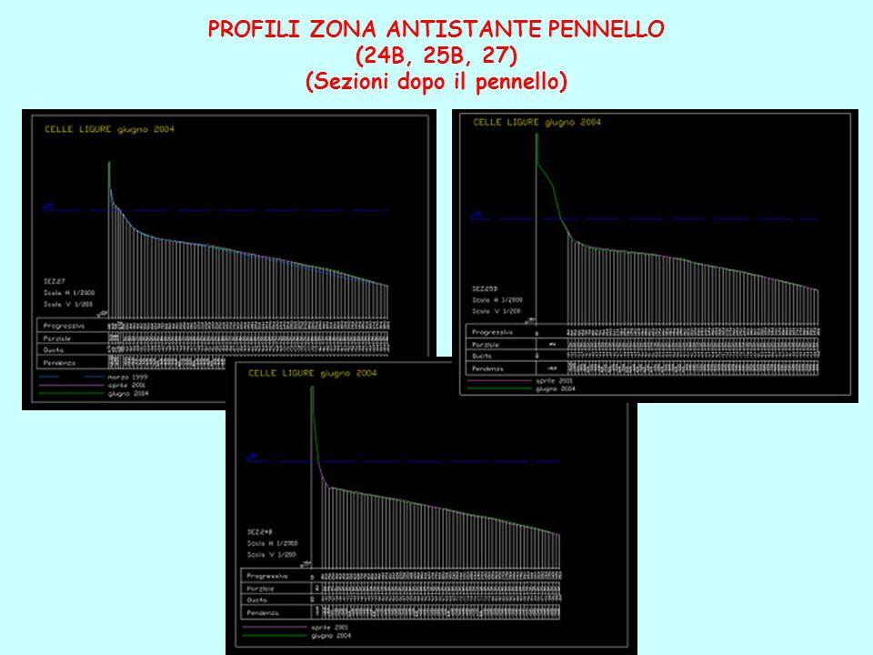 PROFILI ZONA ANTISTANTE PENNELLO (24B, 25B, 27) (Sezioni dopo il pennello)