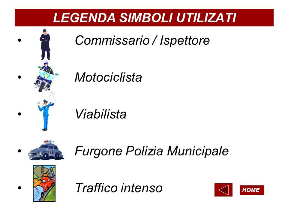 LEGENDA SIMBOLI UTILIZATI Commissario / Ispettore Motociclista Viabilista Furgone Polizia Municipale Traffico intenso HOME