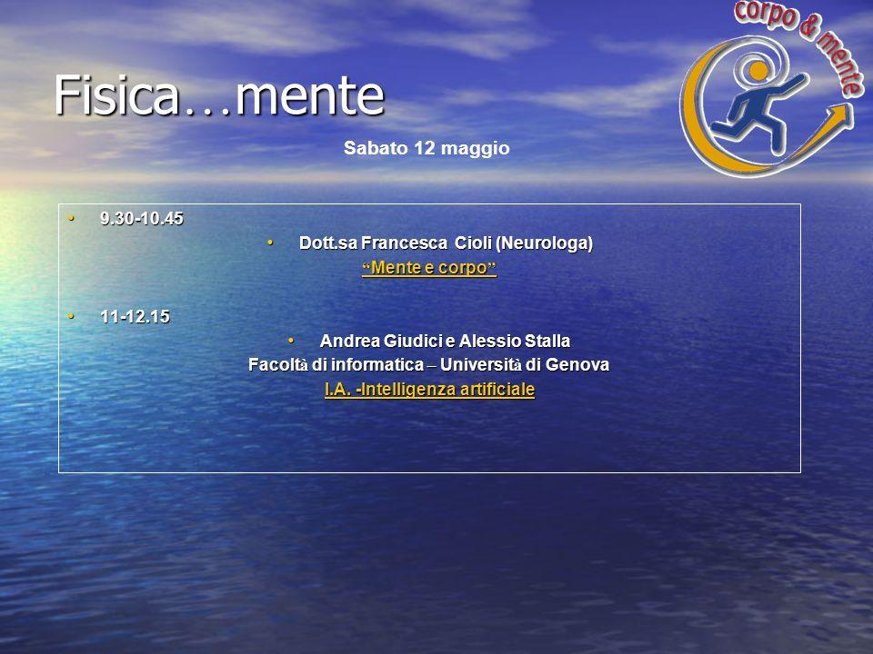 9.30-10.45 9.30-10.45 Dott.sa Francesca Cioli (Neurologa) Dott.sa Francesca Cioli (Neurologa) Mente e corpo Mente e corpo 11-12.15 11-12.15 Andrea Giu