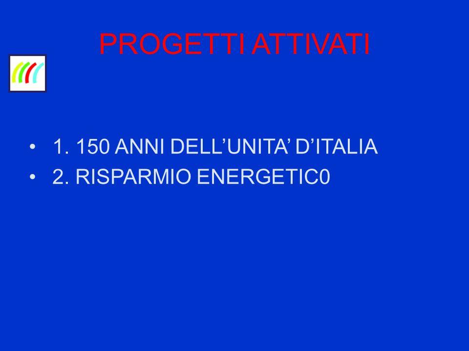 PROGETTI ATTIVATI 1. 150 ANNI DELLUNITA DITALIA 2. RISPARMIO ENERGETIC0