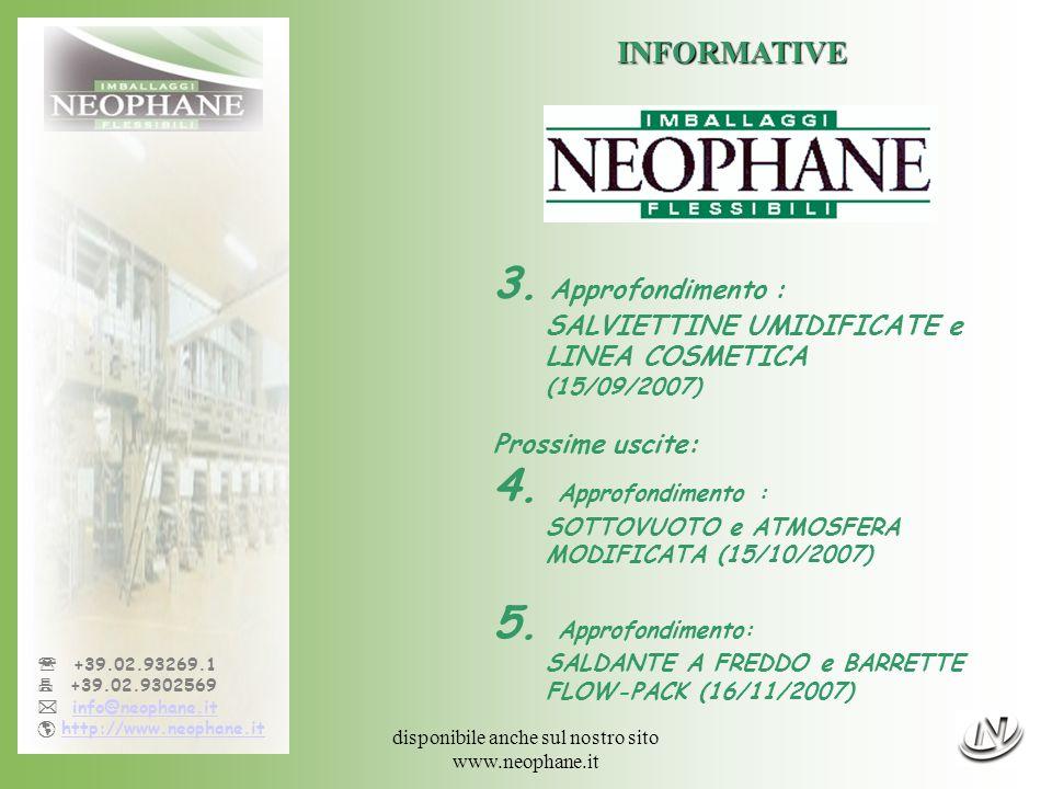 sarà disponibile anche sul nostro sito www.neophane.it +39.02.93269.1 +39.02.9302569 info@neophane.it http://www.neophane.it INFORMATIVE Prossima uscita al 15/10/2007 4 SOTTOVUOTO e ATMOSFERA MODIFICATA