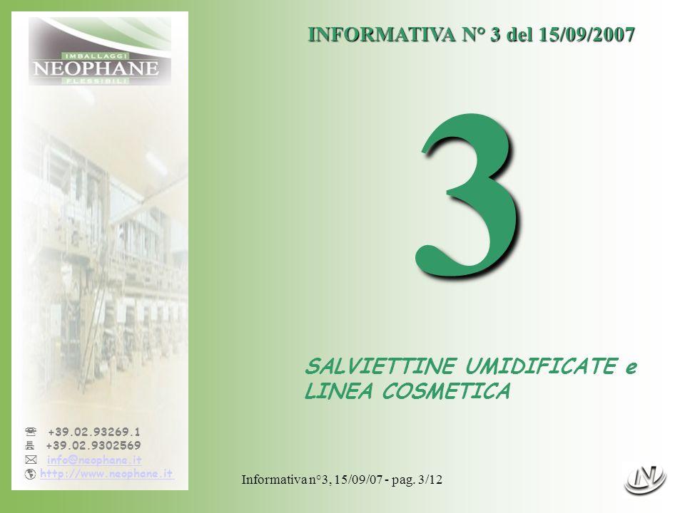 Informativa n°3, 15/09/07 - pag. 3/12 +39.02.93269.1 +39.02.9302569 info@neophane.it http://www.neophane.it INFORMATIVA N° 3 del 15/09/2007 3 SALVIETT