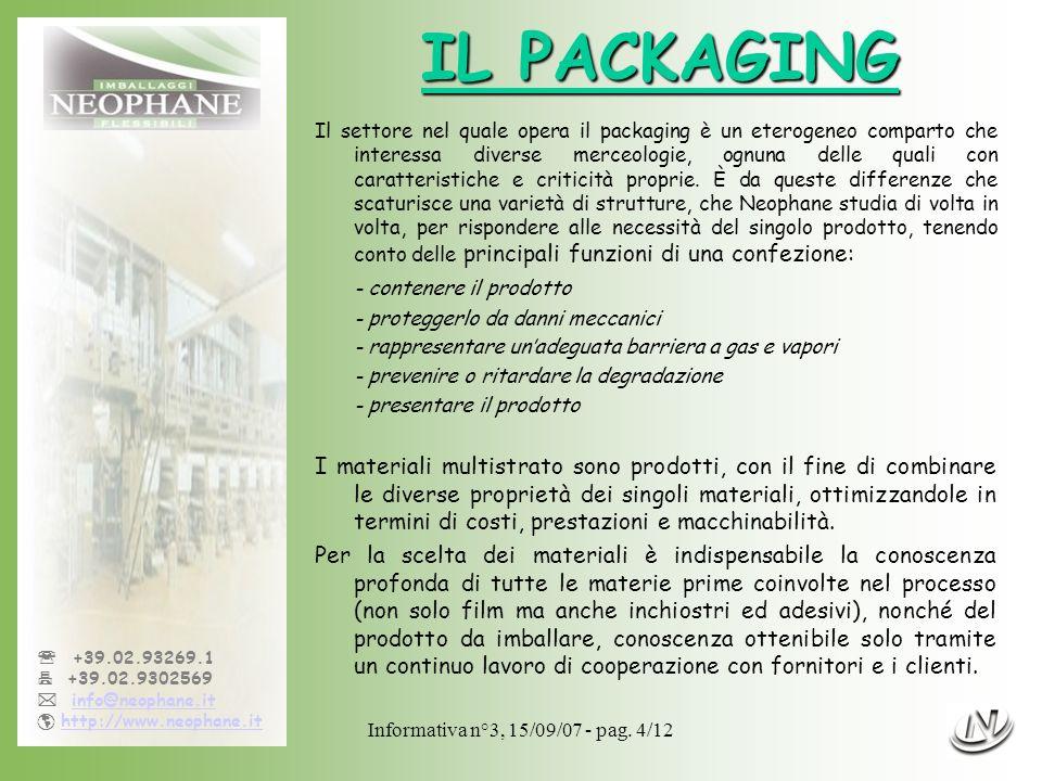 Informativa n°3, 15/09/07 - pag. 4/12 +39.02.93269.1 +39.02.9302569 info@neophane.it http://www.neophane.it IL PACKAGING Il settore nel quale opera il