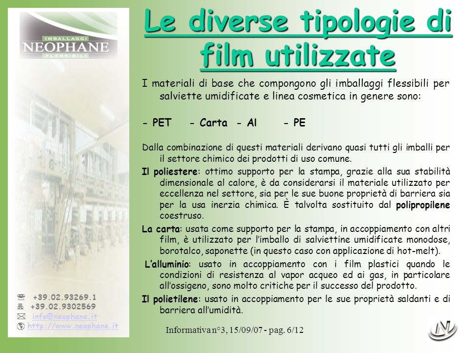 Informativa n°3, 15/09/07 - pag. 6/12 +39.02.93269.1 +39.02.9302569 info@neophane.it http://www.neophane.it Le diverse tipologie di film utilizzate I