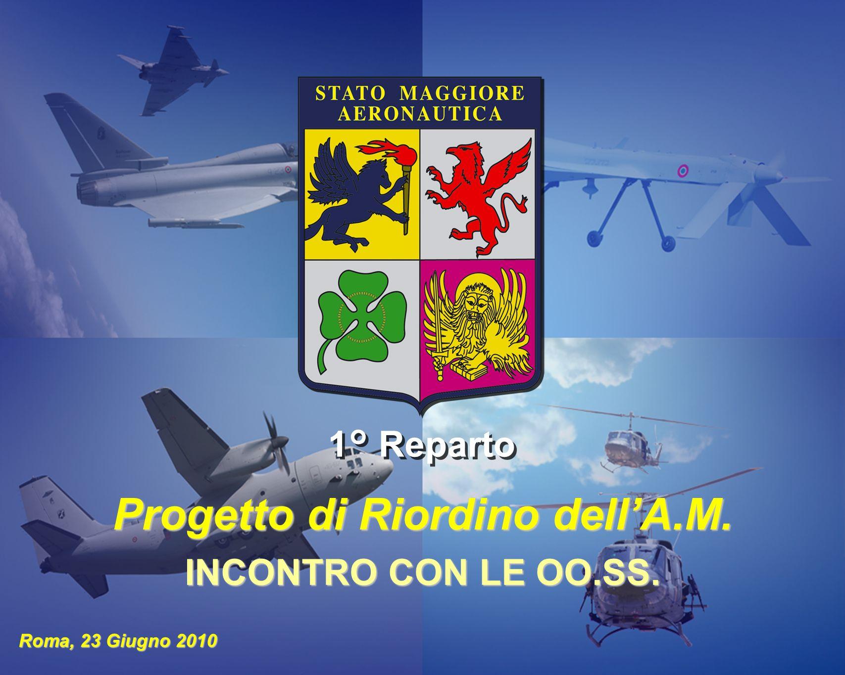 1 ORDINAMENTO E PERSONALE STATO MAGGIORE DELLAERONAUTICA 1° Reparto Roma, 23 Giugno 2010 Progetto di Riordino dellA.M. INCONTRO CON LE OO.SS.