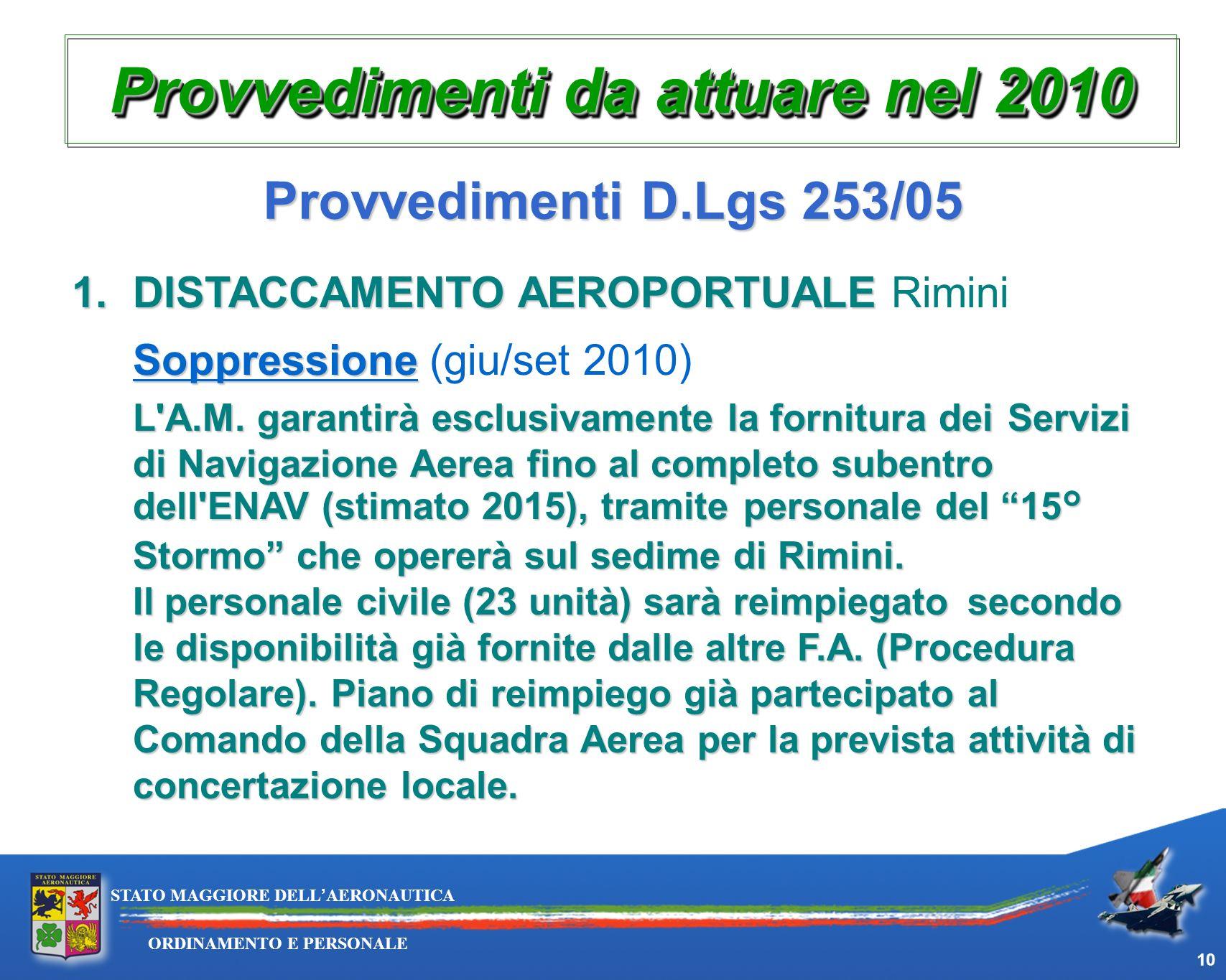 10 ORDINAMENTO E PERSONALE STATO MAGGIORE DELLAERONAUTICA Provvedimenti da attuare nel 2010 Provvedimenti D.Lgs 253/05 1.DISTACCAMENTO AEROPORTUALE 1.