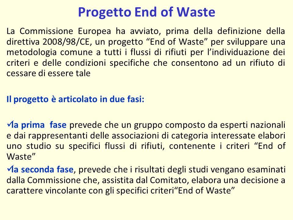 Progetto End of Waste La Commissione Europea ha avviato, prima della definizione della direttiva 2008/98/CE, un progetto End of Waste per sviluppare una metodologia comune a tutti i flussi di rifiuti per lindividuazione dei criteri e delle condizioni specifiche che consentono ad un rifiuto di cessare di essere tale Il progetto è articolato in due fasi: la prima fase prevede che un gruppo composto da esperti nazionali e dai rappresentanti delle associazioni di categoria interessate elabori uno studio su specifici flussi di rifiuti, contenente i criteri End of Waste la seconda fase, prevede che i risultati degli studi vengano esaminati dalla Commissione che, assistita dal Comitato, elabora una decisione a carattere vincolante con gli specifici criteriEnd of Waste