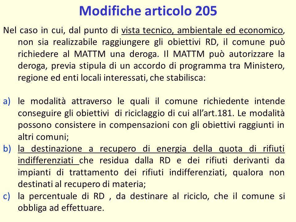Modifiche articolo 205 Nel caso in cui, dal punto di vista tecnico, ambientale ed economico, non sia realizzabile raggiungere gli obiettivi RD, il comune può richiedere al MATTM una deroga.