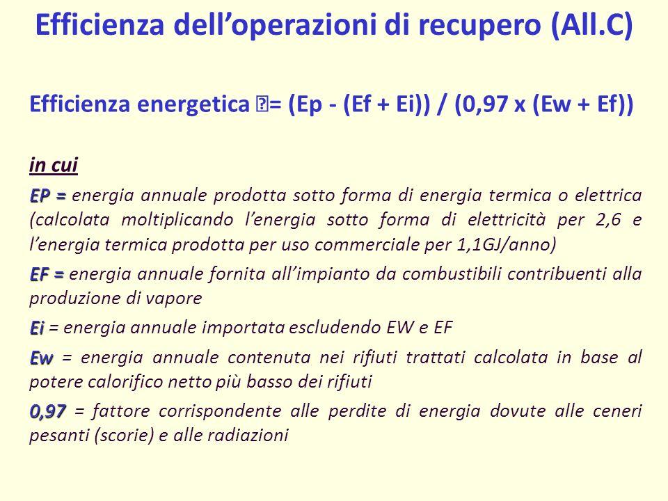 Efficienza delloperazioni di recupero (All.C) Efficienza energetica = (Ep - (Ef + Ei)) / (0,97 x (Ew + Ef)) in cui EP = EP = energia annuale prodotta sotto forma di energia termica o elettrica (calcolata moltiplicando lenergia sotto forma di elettricità per 2,6 e lenergia termica prodotta per uso commerciale per 1,1GJ/anno) EF = EF = energia annuale fornita allimpianto da combustibili contribuenti alla produzione di vapore Ei Ei = energia annuale importata escludendo EW e EF Ew Ew = energia annuale contenuta nei rifiuti trattati calcolata in base al potere calorifico netto più basso dei rifiuti 0,97 0,97 = fattore corrispondente alle perdite di energia dovute alle ceneri pesanti (scorie) e alle radiazioni