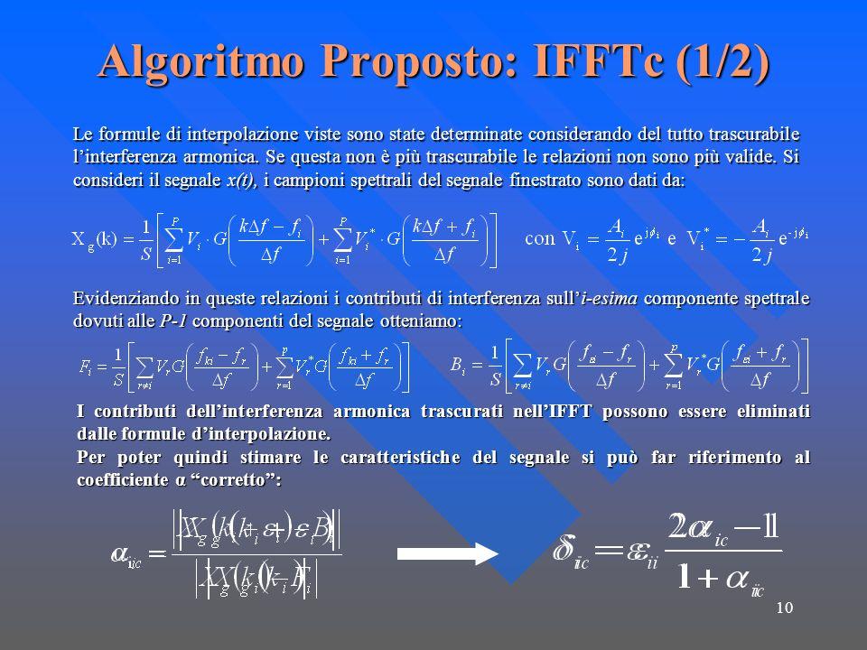 10 Algoritmo Proposto: IFFTc (1/2) Le formule di interpolazione viste sono state determinate considerando del tutto trascurabile linterferenza armonica.