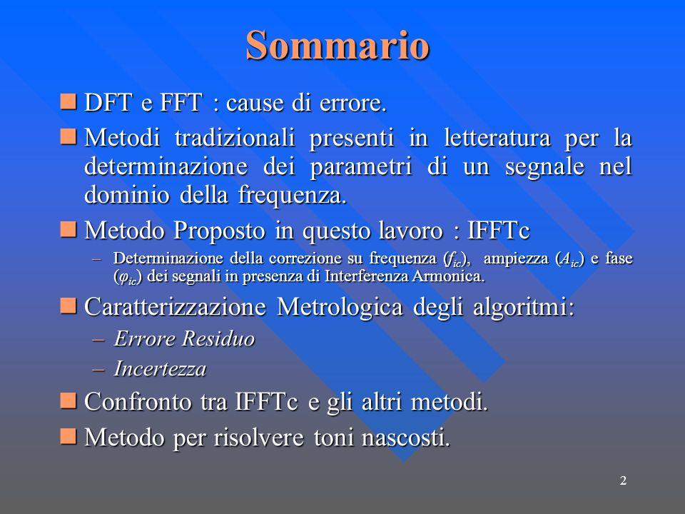 2Sommario DFT e FFT : cause di errore. DFT e FFT : cause di errore. Metodi tradizionali presenti in letteratura per la determinazione dei parametri di