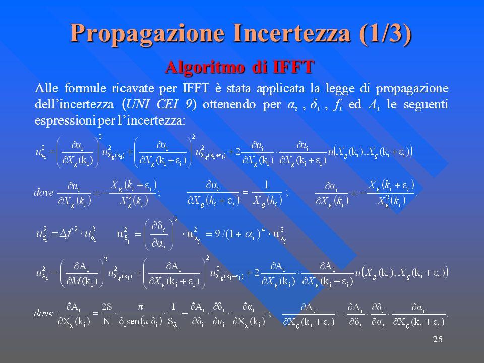 25 Propagazione Incertezza (1/3) Alle formule ricavate per IFFT è stata applicata la legge di propagazione dellincertezza ( UNI CEI 9) ottenendo per α i, δ i, f i ed A i le seguenti espressioni per lincertezza: Algoritmo di IFFT