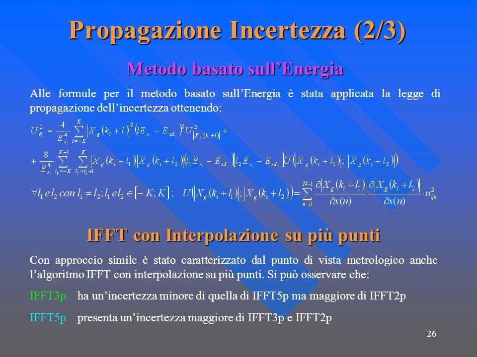 26 Propagazione Incertezza (2/3) Metodo basato sullEnergia Alle formule per il metodo basato sullEnergia è stata applicata la legge di propagazione dellincertezza ottenendo: IFFT con Interpolazione su più punti Con approccio simile è stato caratterizzato dal punto di vista metrologico anche lalgoritmo IFFT con interpolazione su più punti.