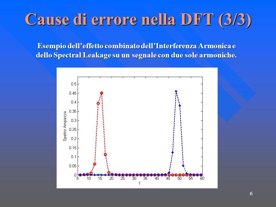 6 Cause di errore nella DFT (3/3) Esempio delleffetto combinato dellInterferenza Armonica e dello Spectral Leakage su un segnale con due sole armonich