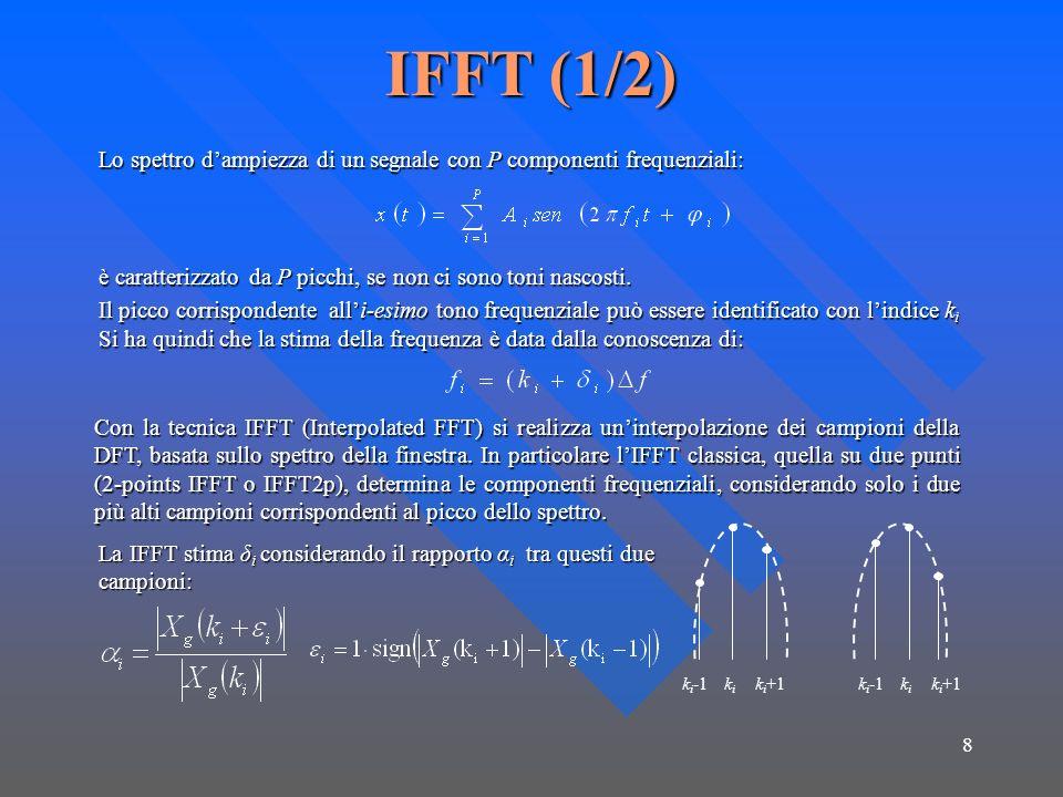8 IFFT (1/2) Lo spettro dampiezza di un segnale con P componenti frequenziali: è caratterizzato da P picchi, se non ci sono toni nascosti.