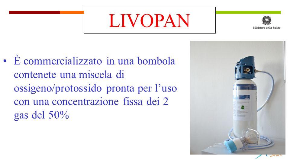 È commercializzato in una bombola contenete una miscela di ossigeno/protossido pronta per luso con una concentrazione fissa dei 2 gas del 50% LIVOPAN