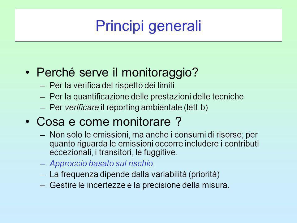 Principi generali Perché serve il monitoraggio.