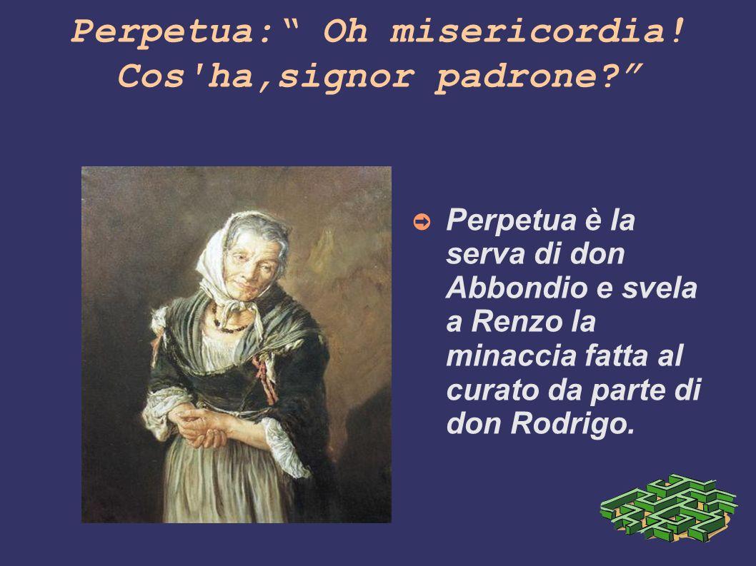 Perpetua: Oh misericordia! Cos'ha,signor padrone? Perpetua è la serva di don Abbondio e svela a Renzo la minaccia fatta al curato da parte di don Rodr