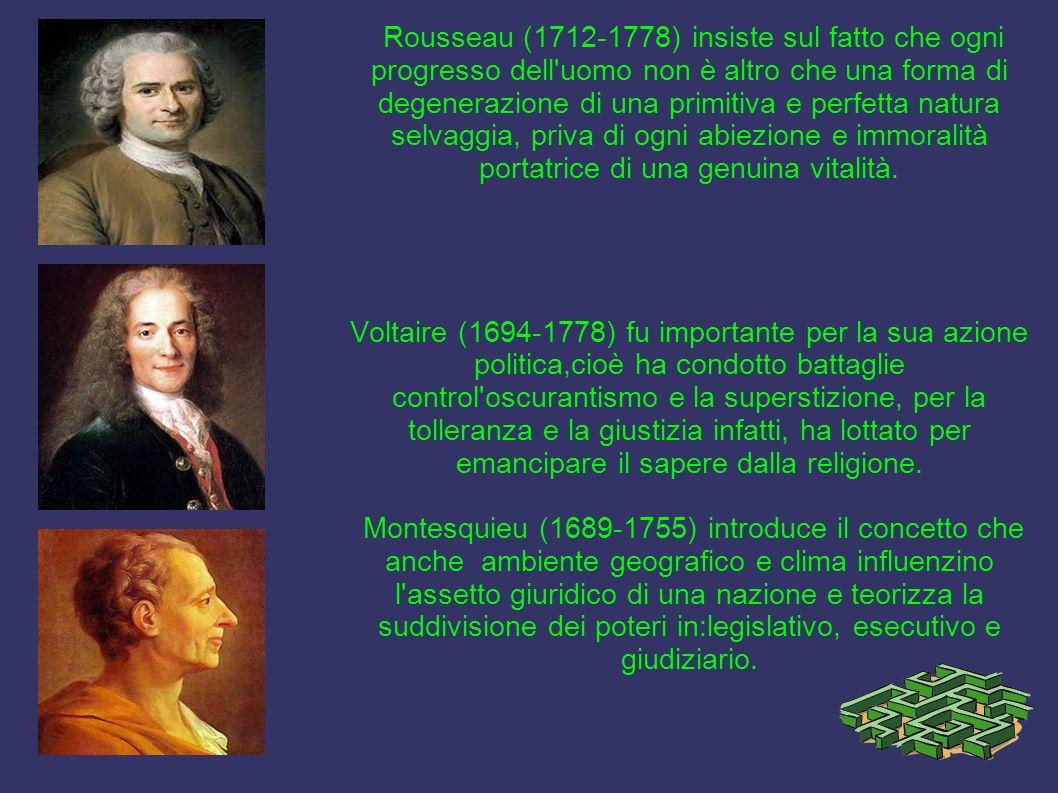 Rousseau (1712-1778) insiste sul fatto che ogni progresso dell'uomo non è altro che una forma di degenerazione di una primitiva e perfetta natura selv