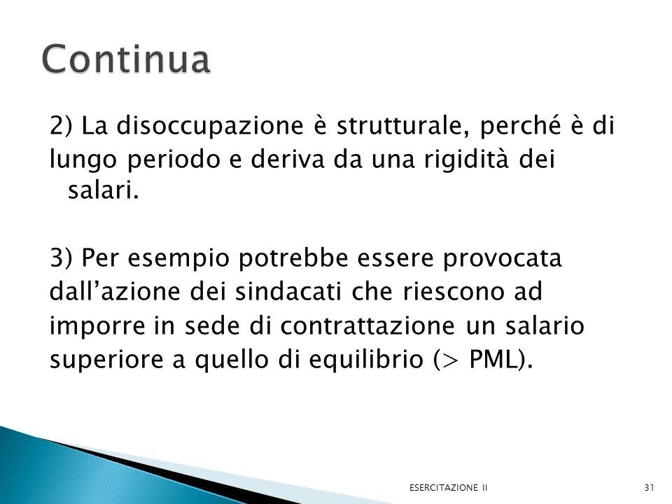 2) La disoccupazione è strutturale, perché è di lungo periodo e deriva da una rigidità dei salari. 3) Per esempio potrebbe essere provocata dallazione