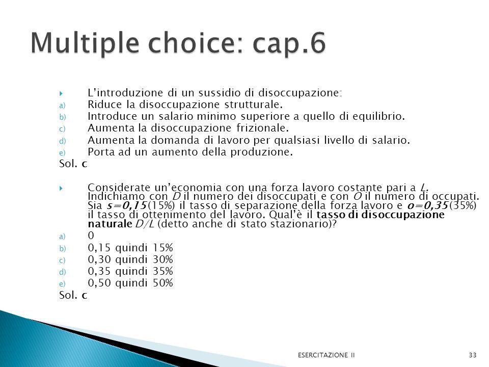 Lintroduzione di un sussidio di disoccupazione: a) Riduce la disoccupazione strutturale. b) Introduce un salario minimo superiore a quello di equilibr