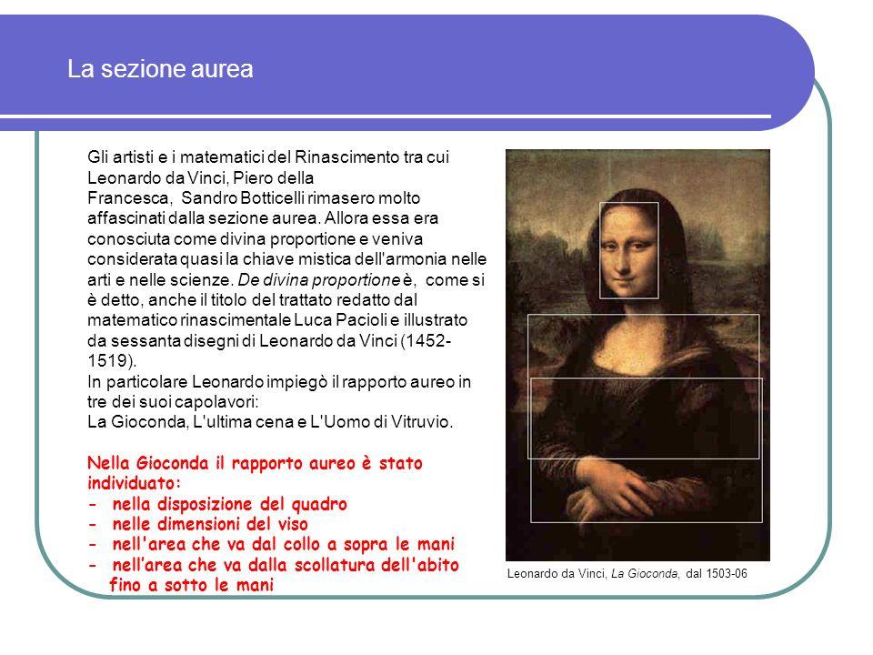 Gli artisti e i matematici del Rinascimento tra cui Leonardo da Vinci, Piero della Francesca, Sandro Botticelli rimasero molto affascinati dalla sezione aurea.