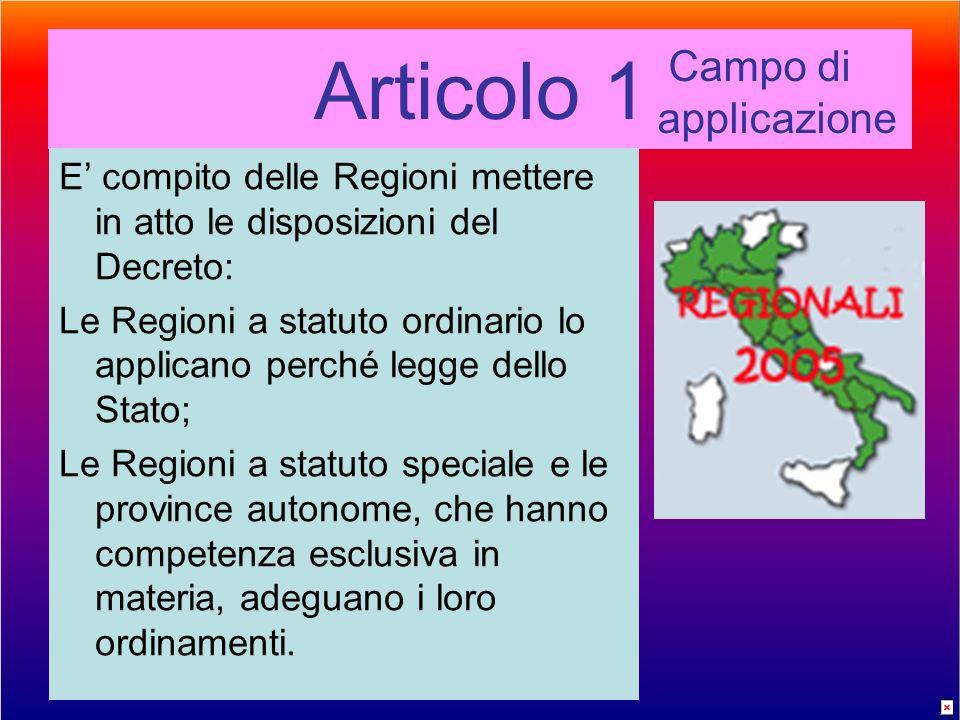 Articolo 1 E compito delle Regioni mettere in atto le disposizioni del Decreto: Le Regioni a statuto ordinario lo applicano perché legge dello Stato; Le Regioni a statuto speciale e le province autonome, che hanno competenza esclusiva in materia, adeguano i loro ordinamenti.