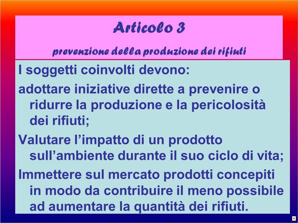 Articolo 3 prevenzione della produzione dei rifiuti I soggetti coinvolti devono: adottare iniziative dirette a prevenire o ridurre la produzione e la