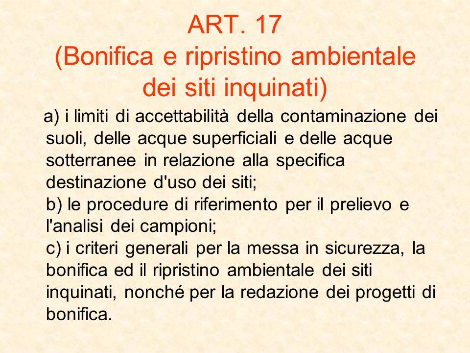 ART. 17 (Bonifica e ripristino ambientale dei siti inquinati) a) i limiti di accettabilità della contaminazione dei suoli, delle acque superficiali e