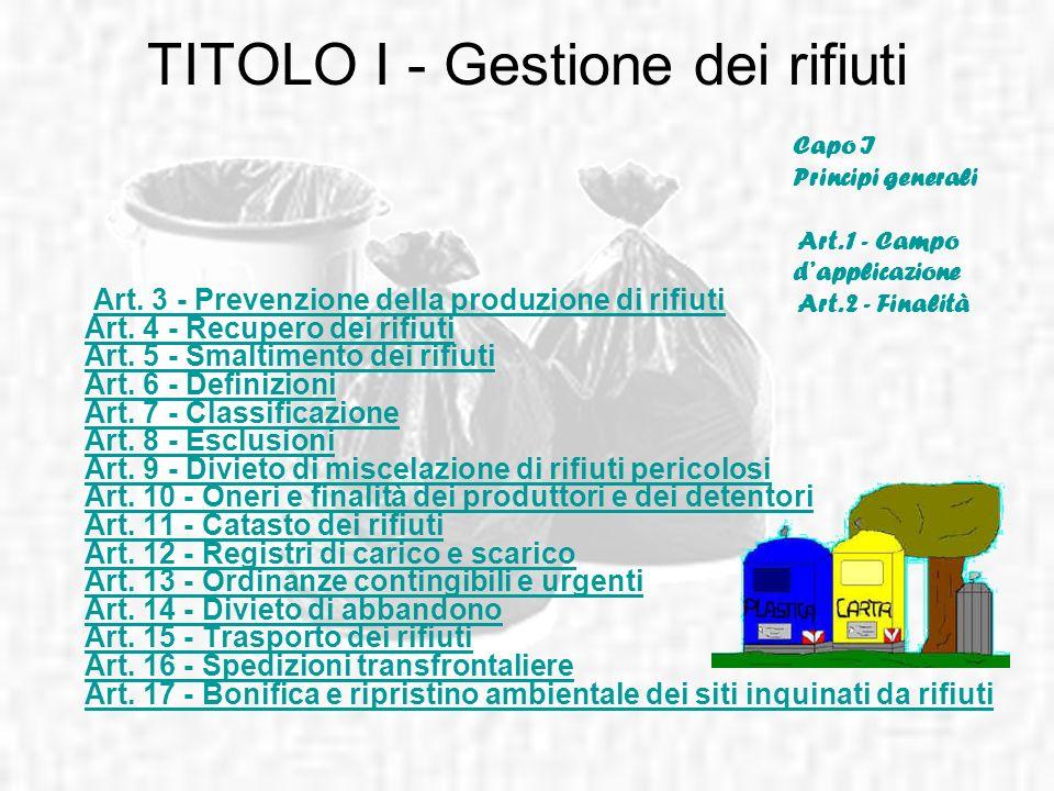 TITOLO I - Gestione dei rifiuti Capo I Principi generali Art. 1 - Campo dapplicazione Art. 2 - Finalità Art. 3 - Prevenzione della produzione di rifiu