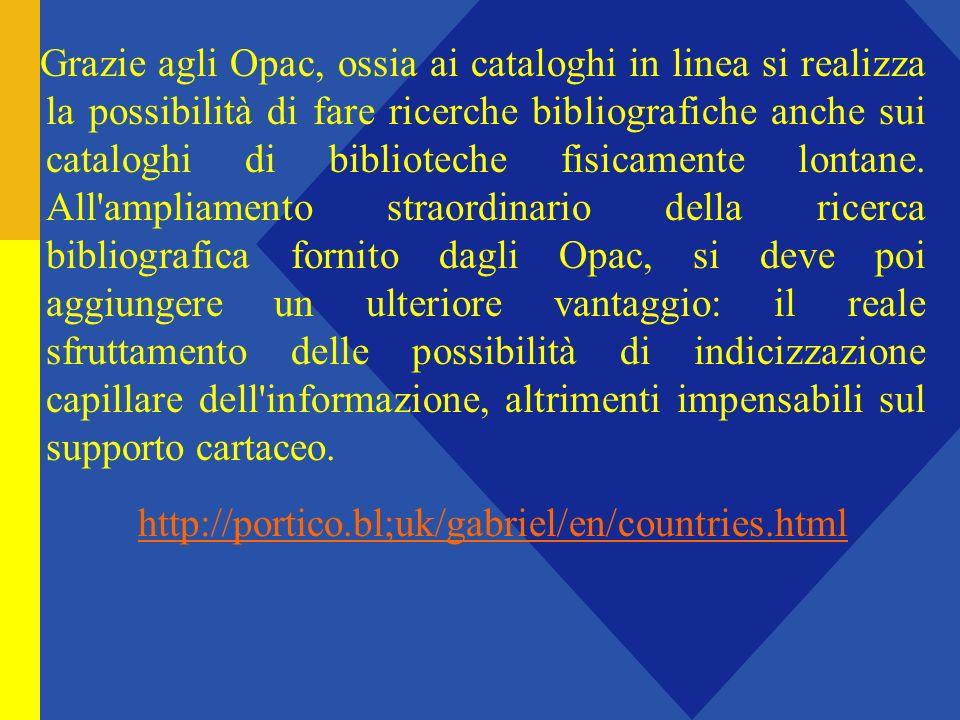 Grazie agli Opac, ossia ai cataloghi in linea si realizza la possibilità di fare ricerche bibliografiche anche sui cataloghi di biblioteche fisicamente lontane.