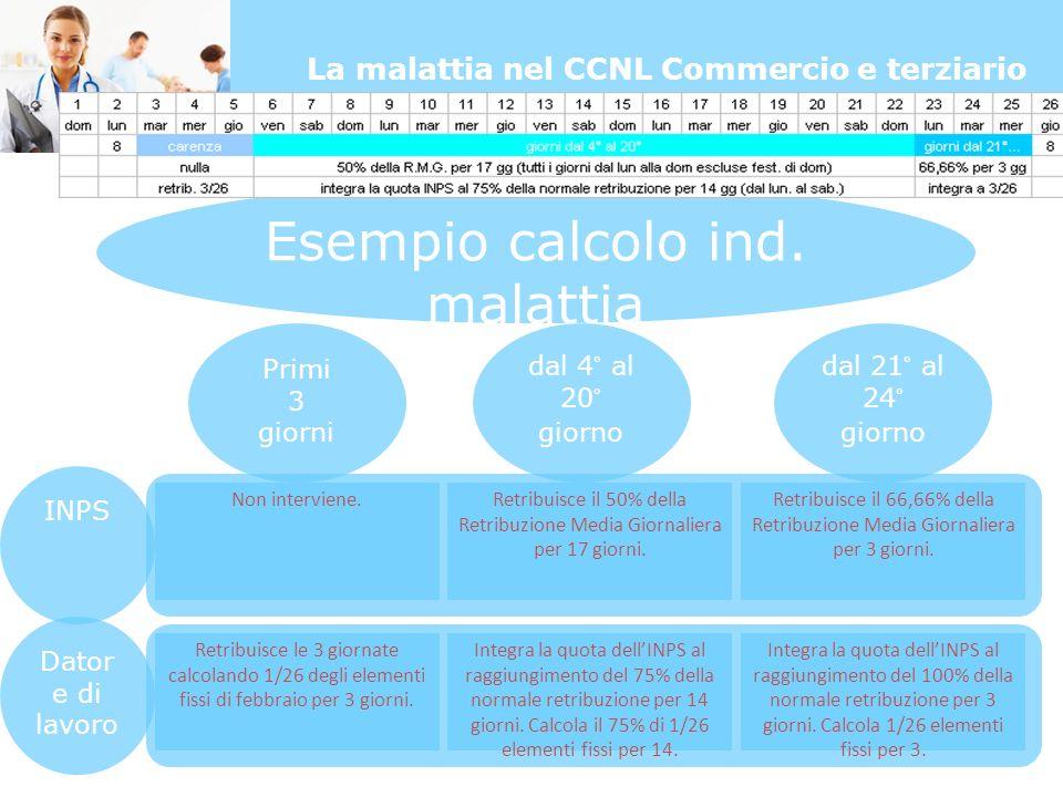 La malattia nel CCNL Commercio e terziario Esempio calcolo ind.
